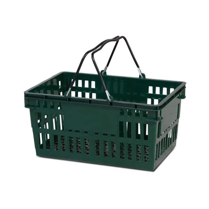 26 liter plastic hand basket with wire handles