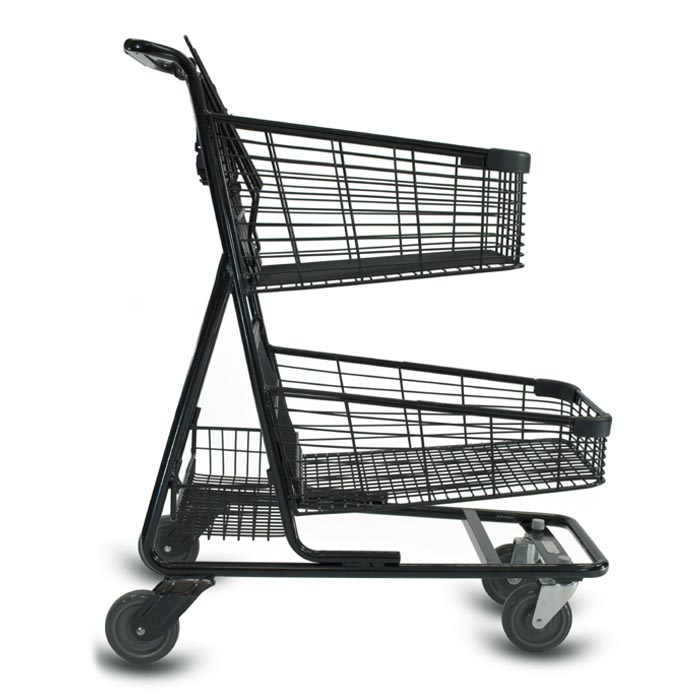 EXpress7030 two-tier metal wire shopping cart with child seat and lower tray in black