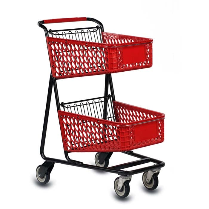 TT-100 two-tier plastic convenience shopping cart