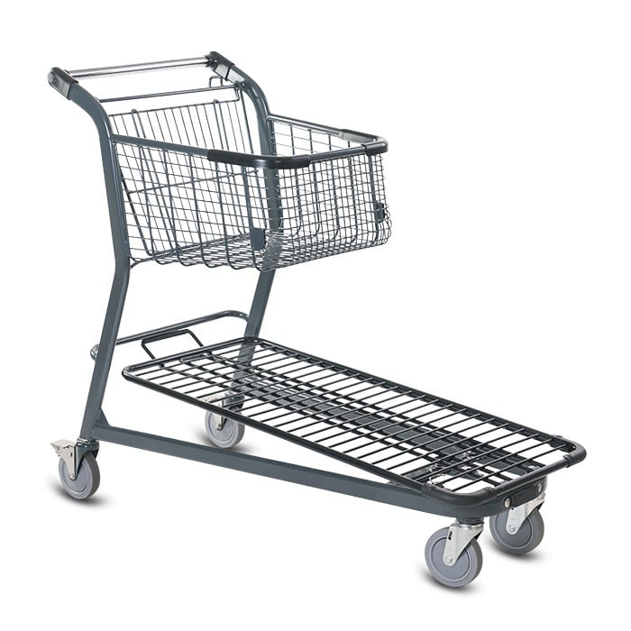 EZtote656 metal wire material handling shopping cart in dark grey