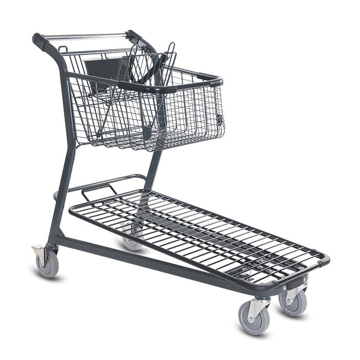 EZtote656 metal wire material handling shopping cart with child seat in dark grey