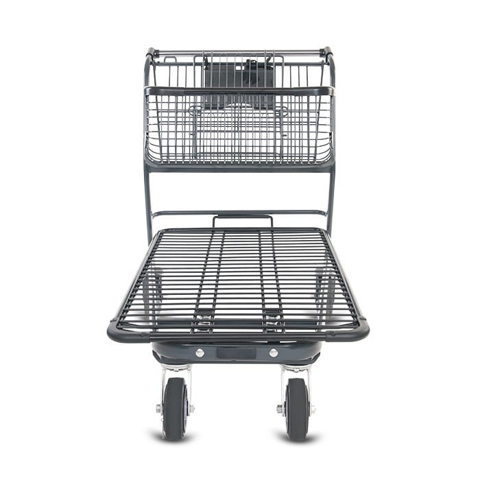 EZtote858 metal wire material handling shopping cart with child seat in dark grey