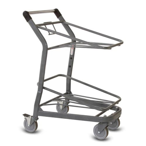 EZtote385 tote stocking material handling cart in metallic grey