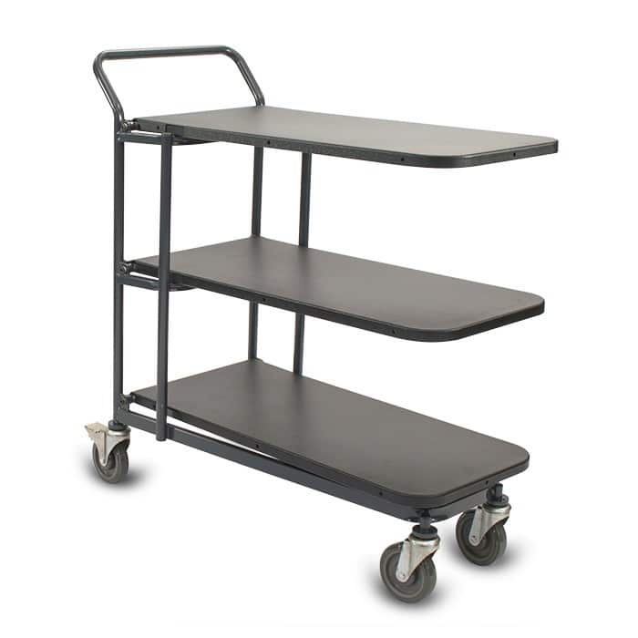 Nesting Utility Cart Model 33F with plastic shelves in dark grey