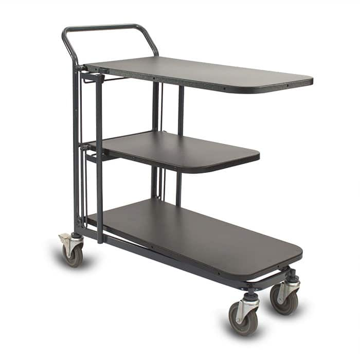 Retractable Nesting Utility Cart Model 33R with plastic shelves in dark grey