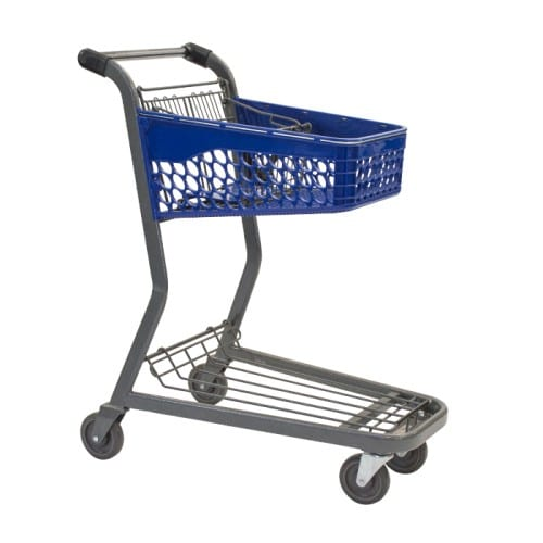 TT-175 two-tier plastic convenience shopping cart with back basket and lower tray