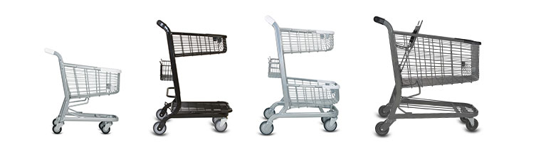 Shopping carts in a line from a kiddy cart to standard shopping cart