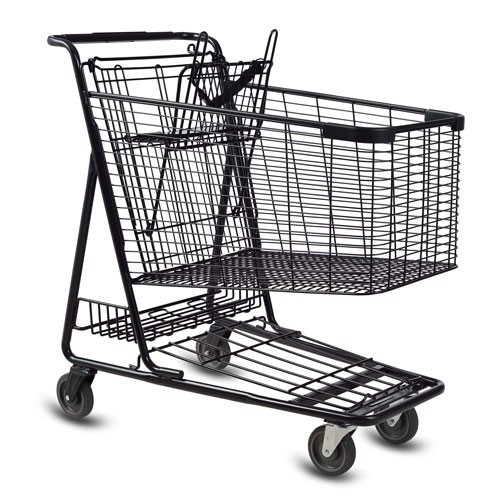 C-160-T Metal Wire Shopping Cart in Black