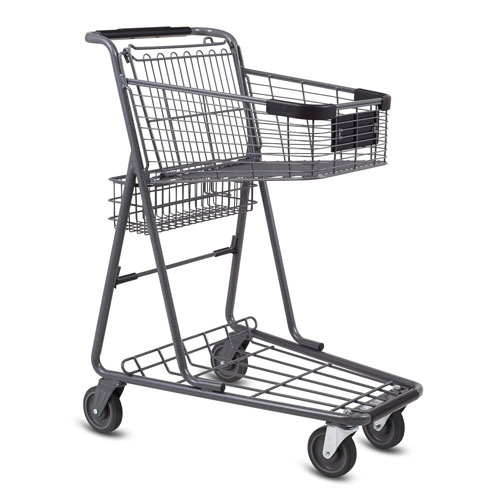 EXpress3150 metal wire convenience shopping cart in metallic grey