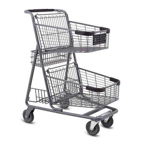 EXpress5150 metal wire convenience shopping cart in metallic grey