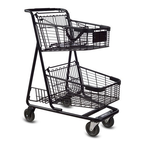 EXpress5150 metal wire convenience shopping cart with child seat in black