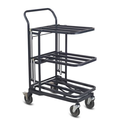 Compact nesting retractable stocking cart