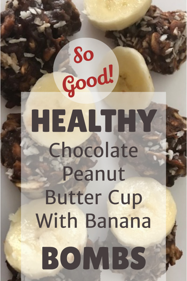 Healthy chocolate peanut butter banana bombs (healthy cookie/sugar-free cookie/ cookie made from fruit/ naturally sweet/ healthy indulgence/ guilt-free/ no-bake cookie/ easy healthy snack/ satisfy sugar cravings naturally/ satisfy sweet craving/ fulfill sweet tooth/ chocolate peanut butter/ cookie made with honey/ cookie with monk fruit extract)