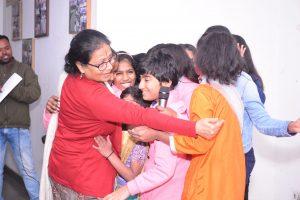 Kiran Modi picture with UG Childrens