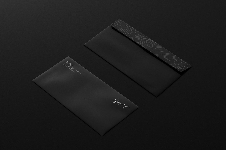 blanchy's lounge application, xolve branding, envelope