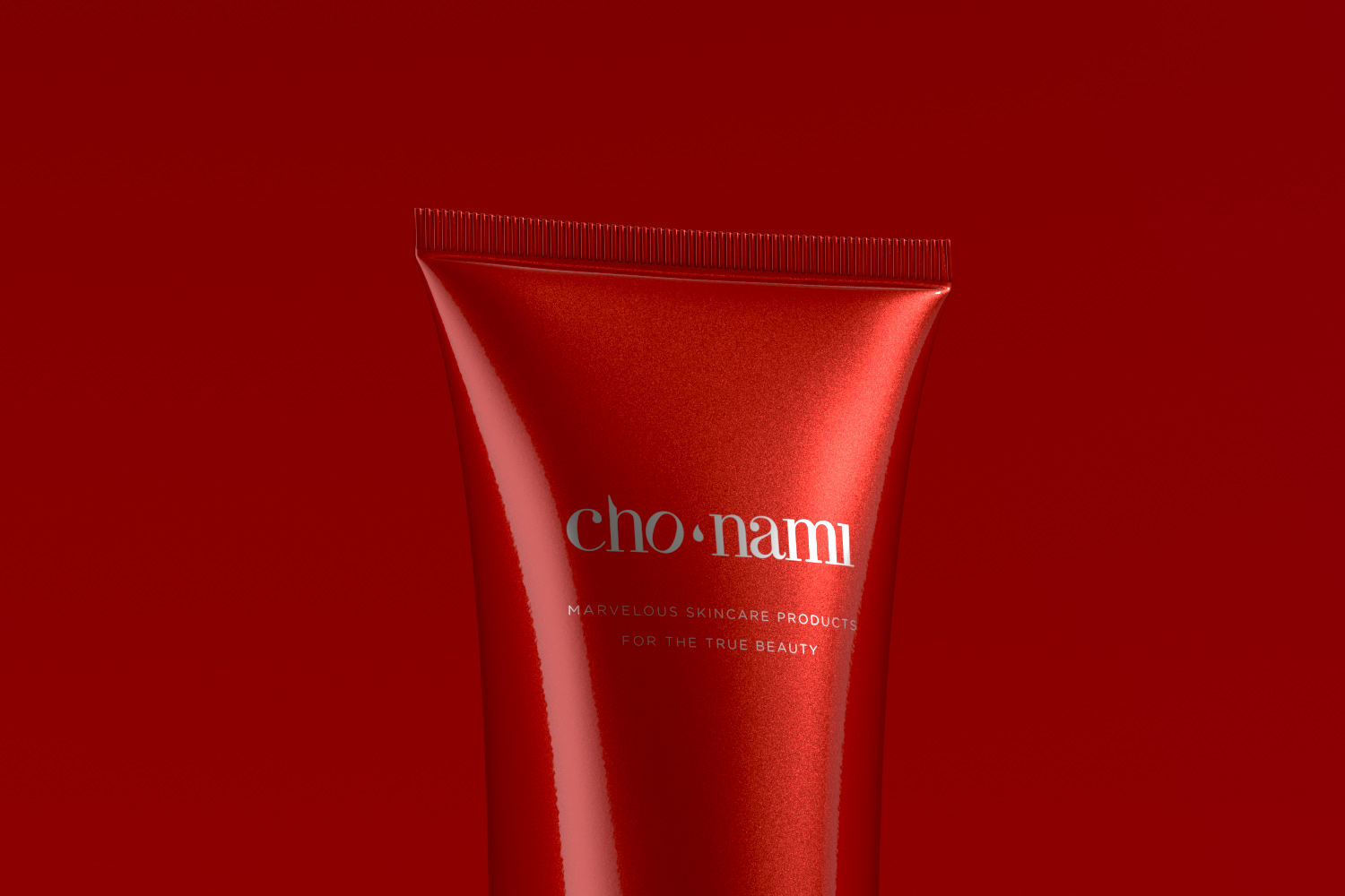 cho nami refine skin product close up photography on red background