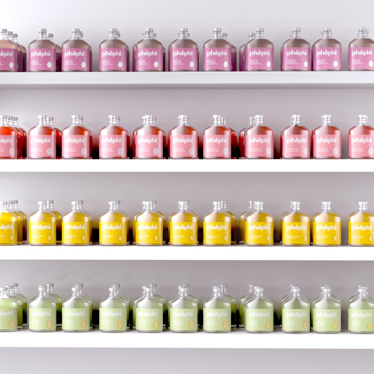 label design, packaging design, branding, product design, juice bottle, phephe, xolve branding, supermarket shelf