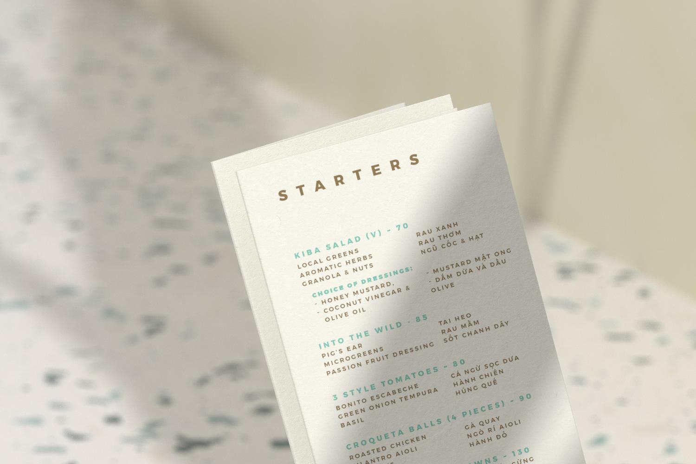 Kiba Saigon menu design closeup view
