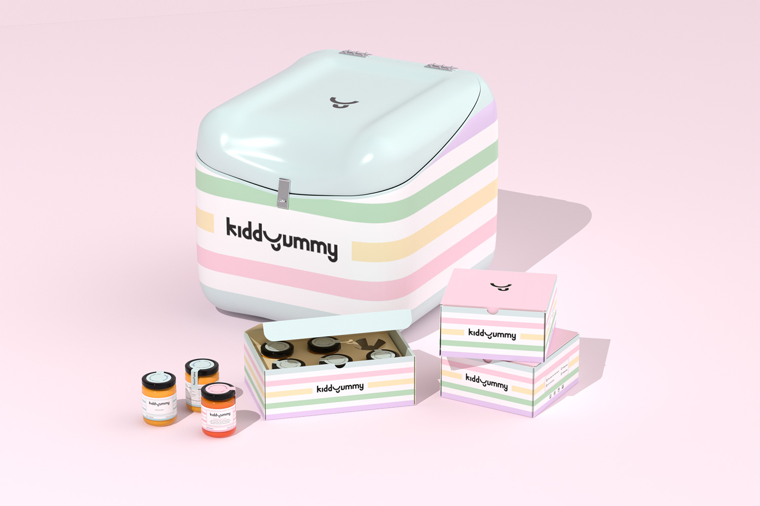Kiddyummy packaging design including scooter box, jar, cartoon box with three different sizes