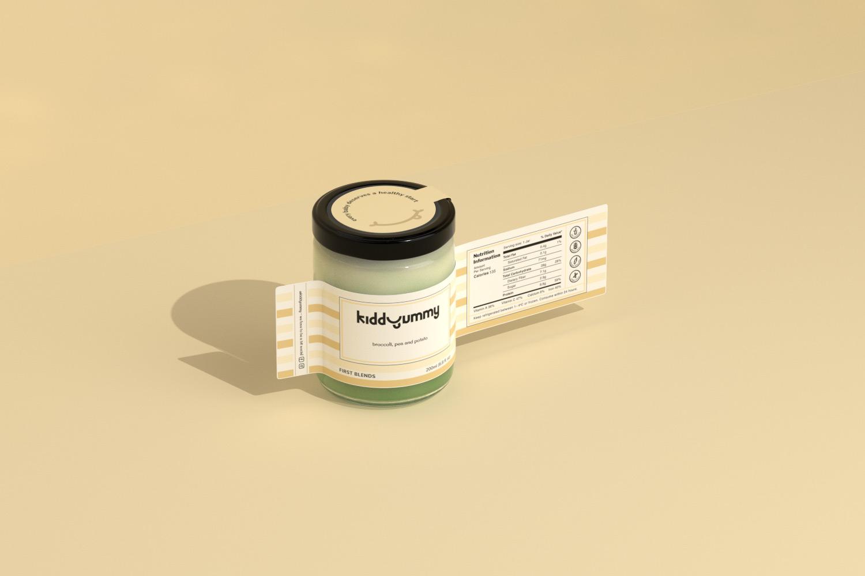 Kiddyummy label wrapped around a jar