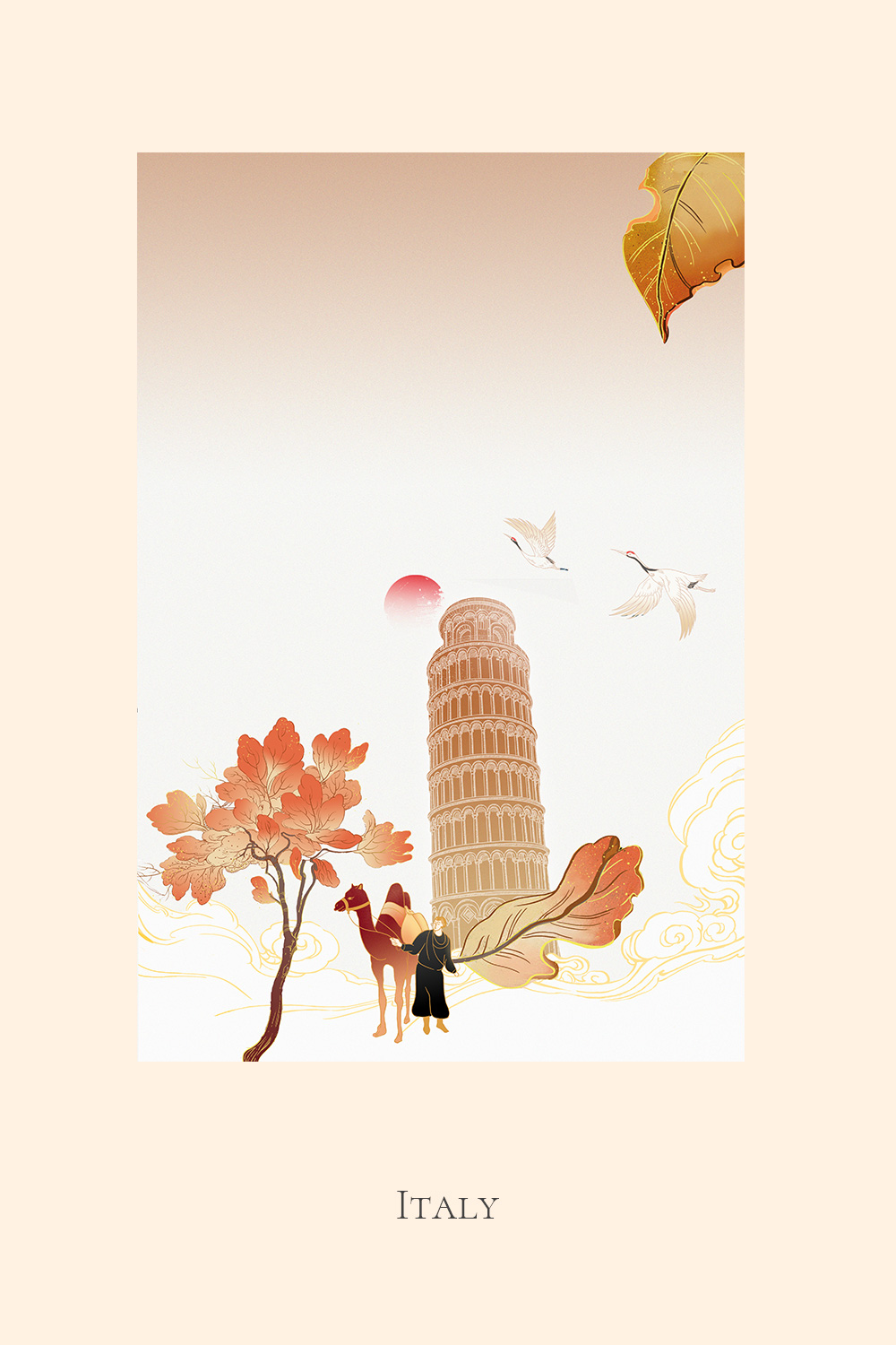 Illustration of a man with a camel at the Leaning Tower of Pisa