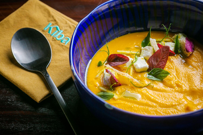 pumpkin cream soup at Kiba Saigon