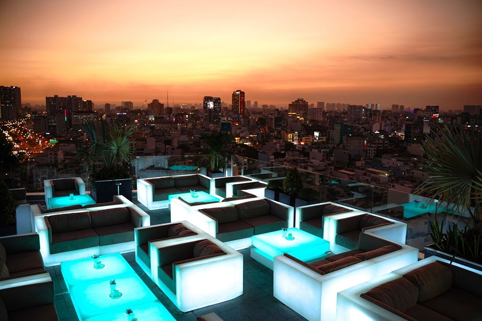 Epic Sky Lounge in sunset skyline