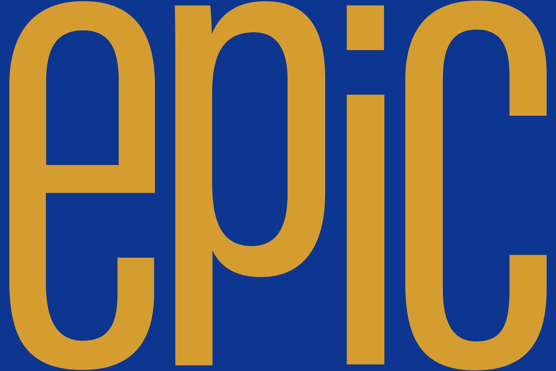 Epic sky lounge yellow logo on blue background