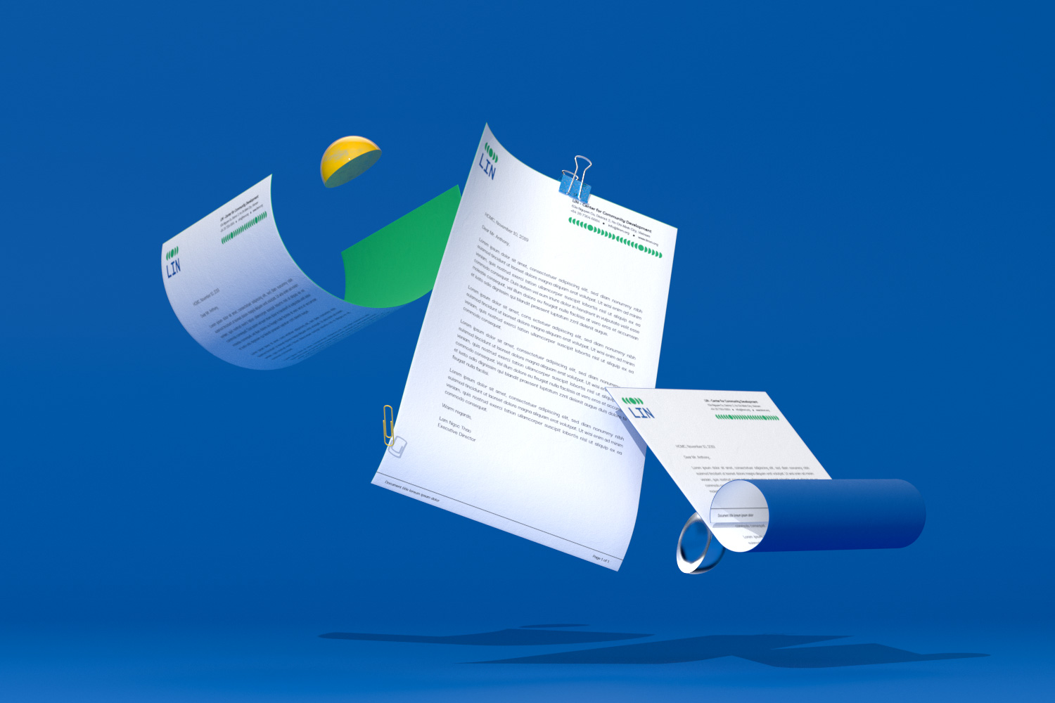 Letterhead levitate with semi spheres prop