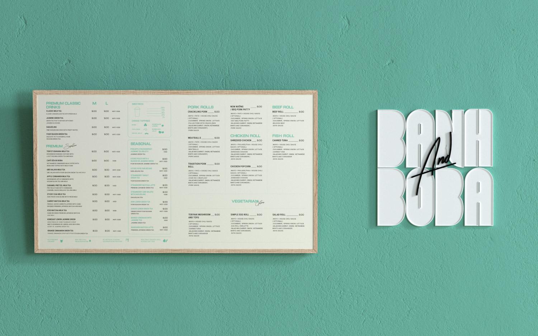 Banh and Boba wall menu board