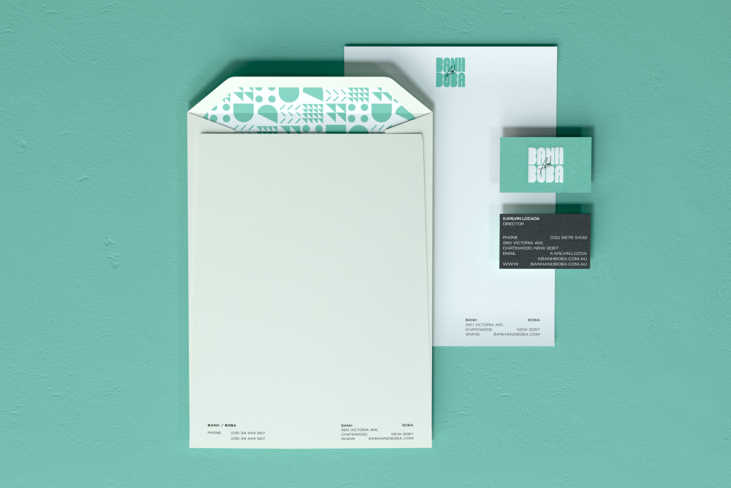 Banh and Boba C4 envelope and namecard