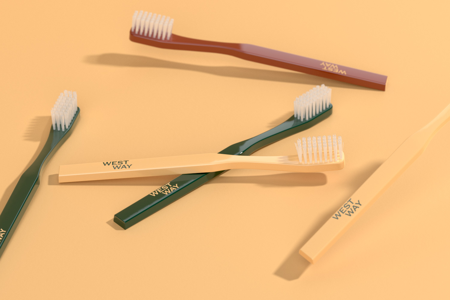 different toothbrush on orange background