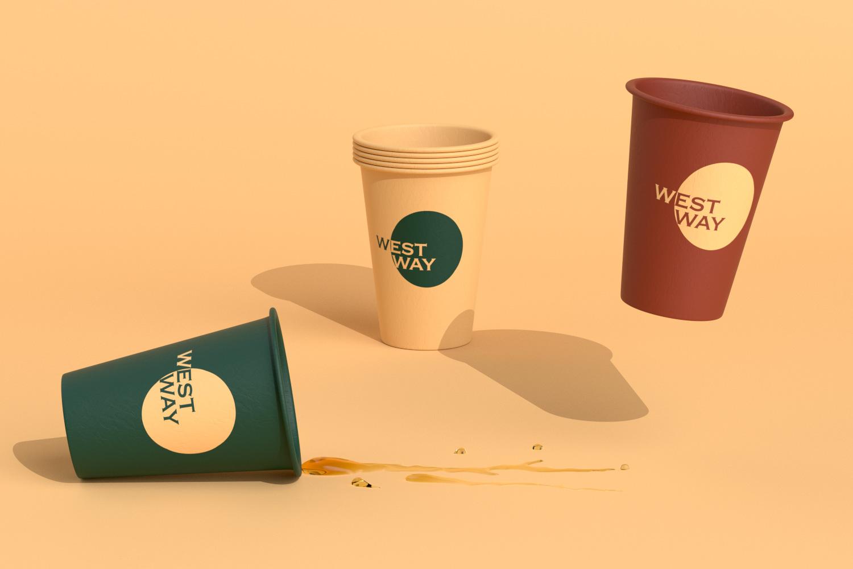 Various westway hot cup on orange background
