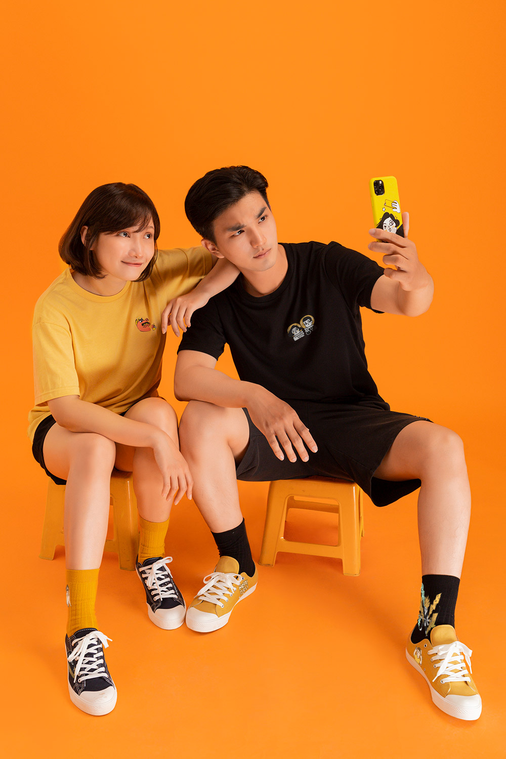 Boy and girl taking a selfie