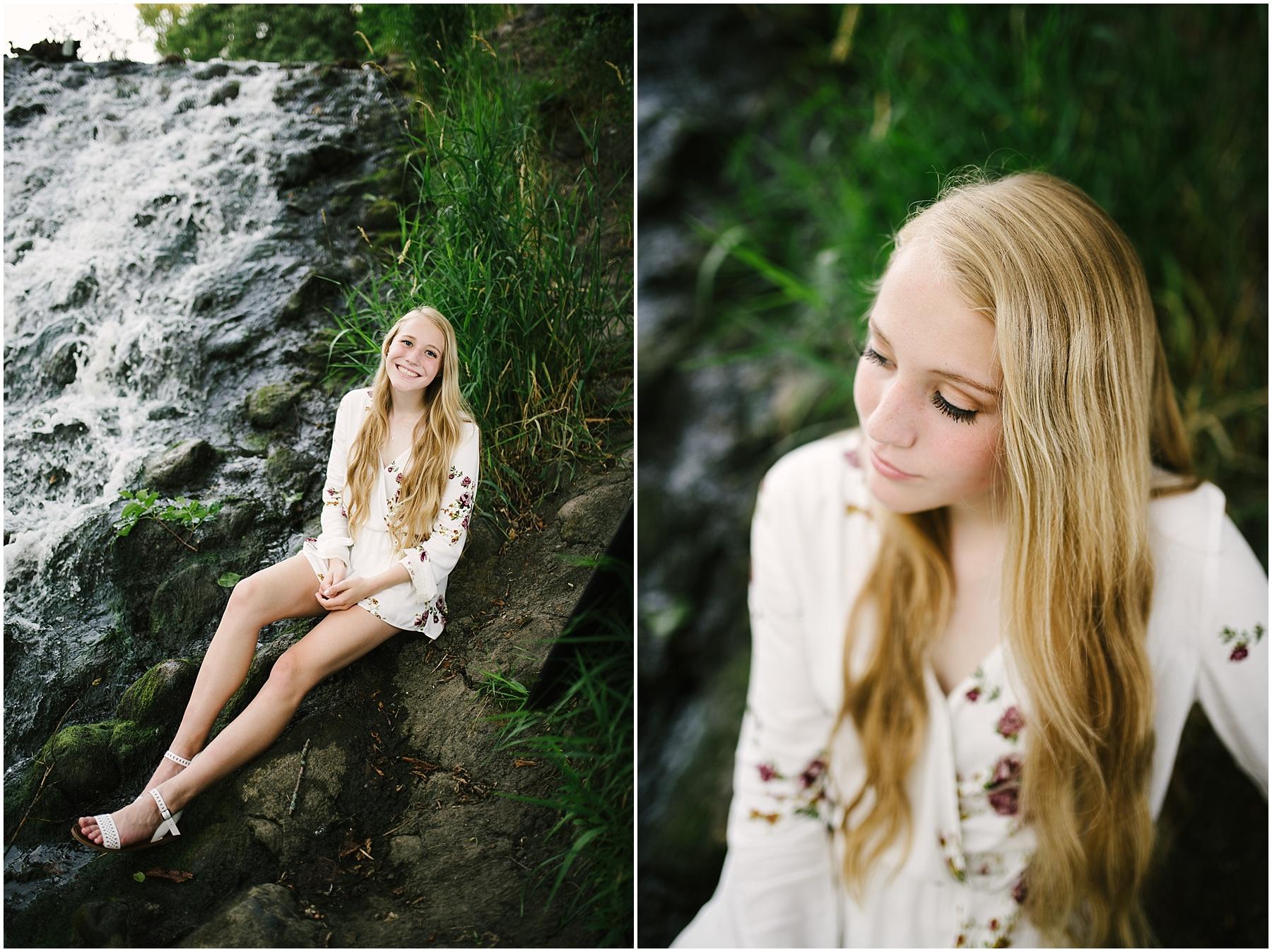 waterfall senior photos mn