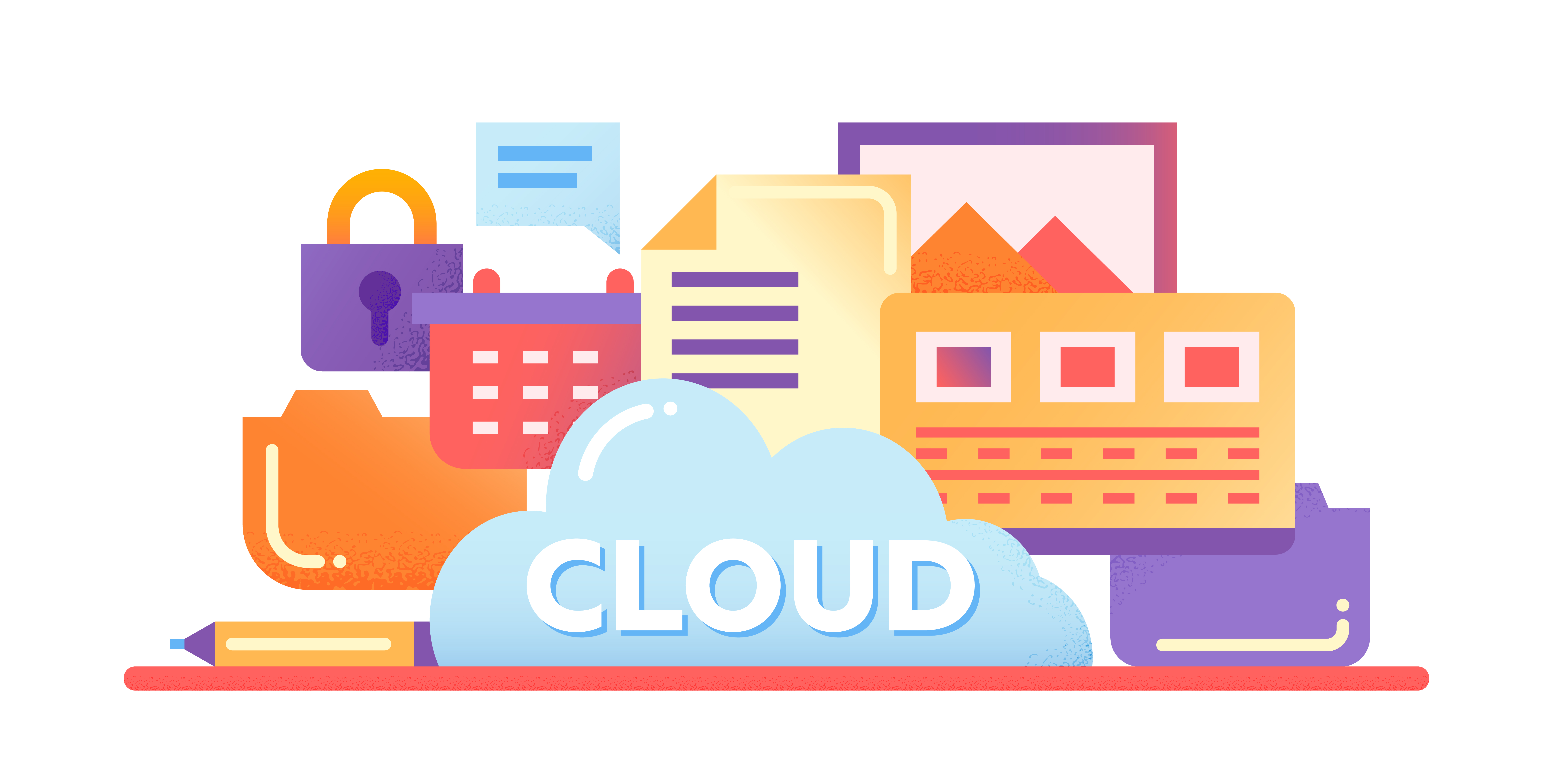 Cloud Storage Technology - vector modern flat design illustration with files, cloud, lock and other computer symbols