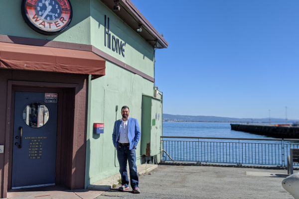 Captain Charles Jennings in front of High Dive, formerly Boondocks