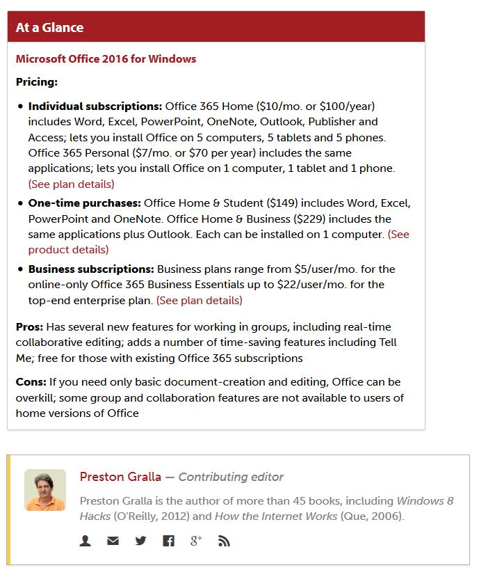 Microsoft Office 2016 Prices from Preston Gralla at Computer World