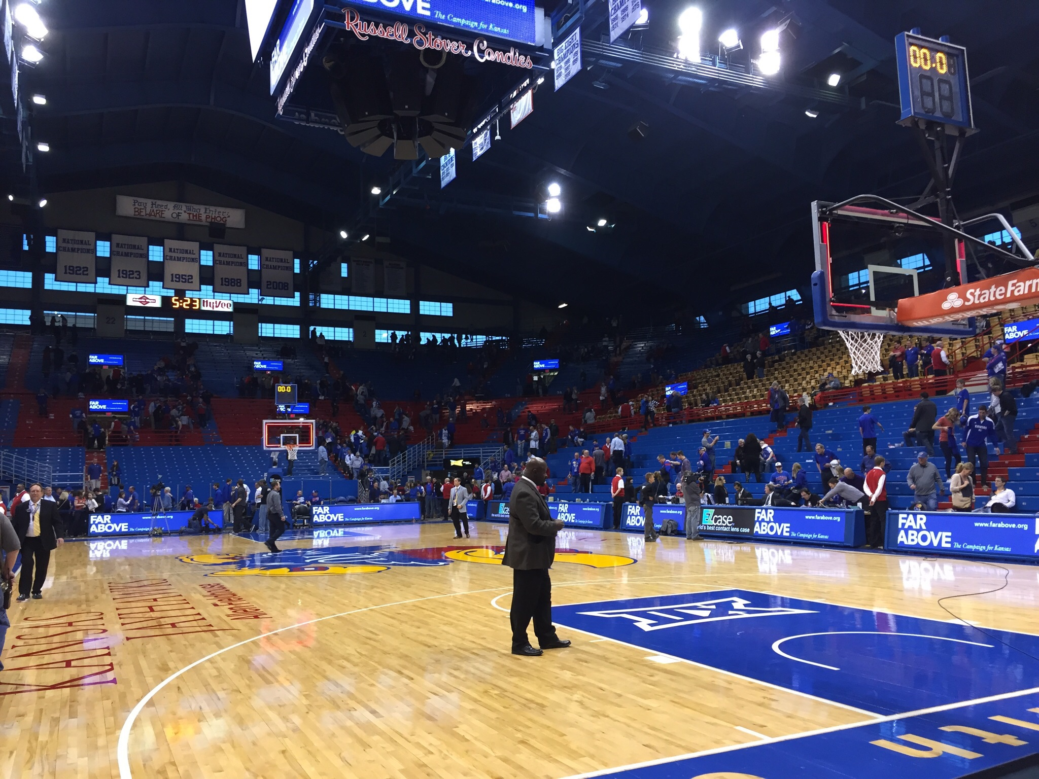 The floor at Allen Fieldhouse before KU's victory over the Wildcats on Feb. 21, 2014. Photo by Ryan Landreth.