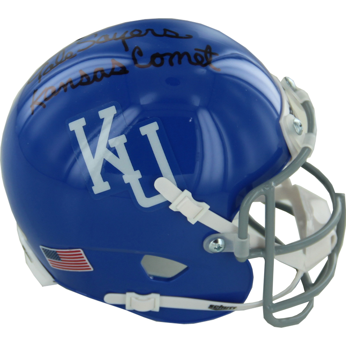 Steiner Sports sells this autographed and inscribed Gayle Sayers University of Kansas helmet here. Photo courtesy of Steiner Sports.