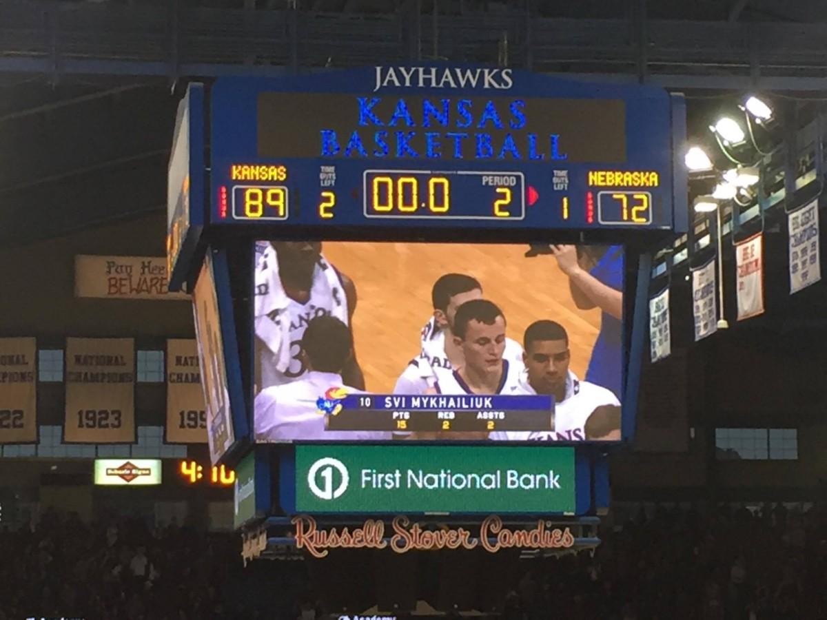 On Dec. 10, 2016, the Kansas Jayhawks defeated the Nebraska Cornhuskers 89-72. Photo by Ryan Landreth.