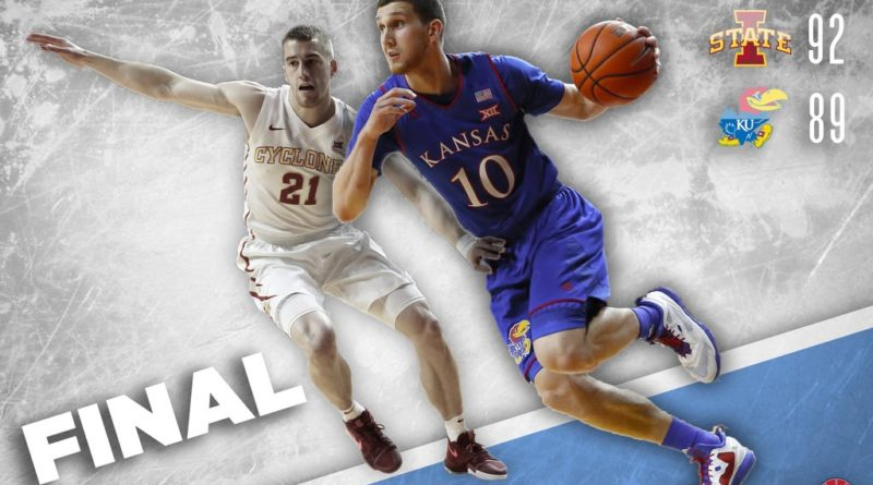 Kansas falls to Iowa State 92-89 in Allen Fieldhouse shocker. Graphic by Nick Weippert.