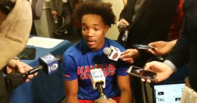 Devonte' Graham speaks to the media after KU's win over K-State. Photo by Joshua Brisco.