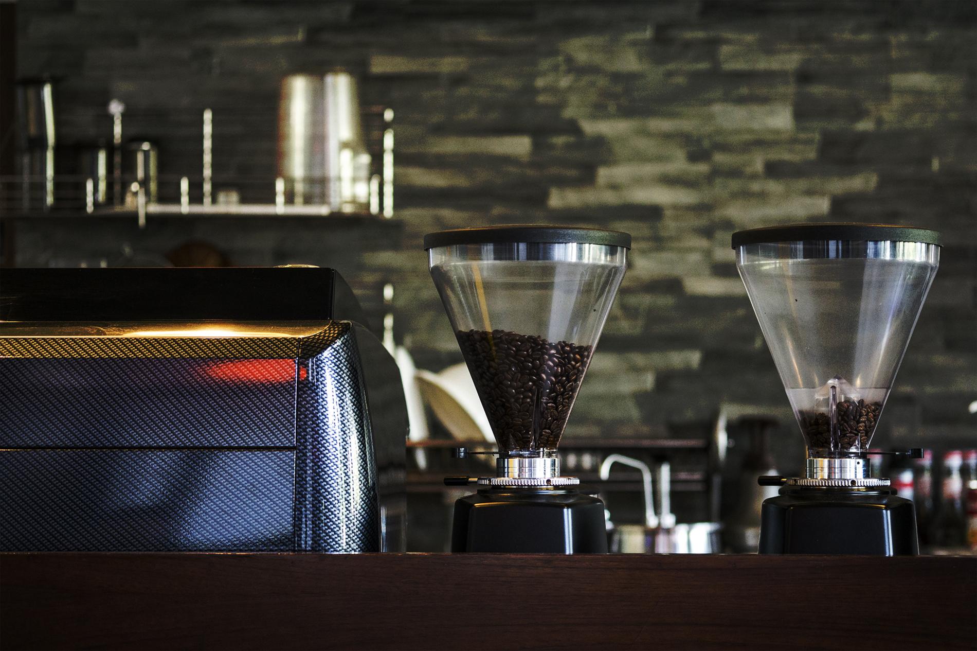 Interior coffee shop with coffee machine