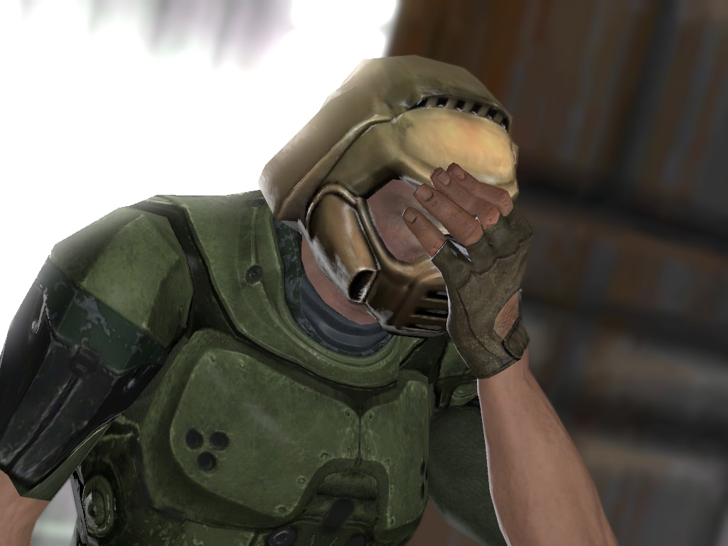 doom guy face palm