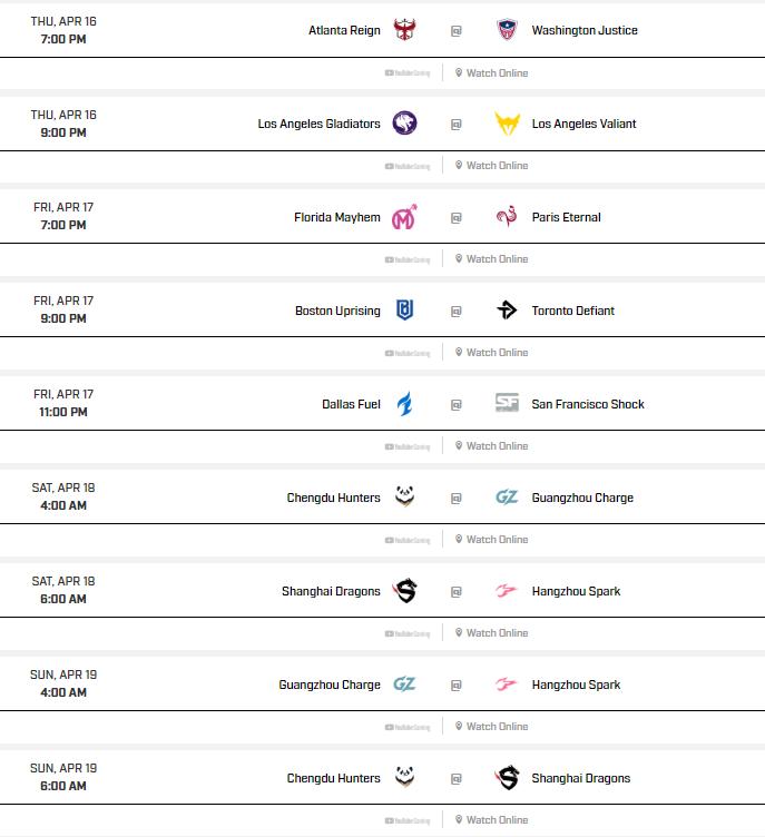 overwatch league week 11 schedule, overwatch league week 11, overwatch league schedule