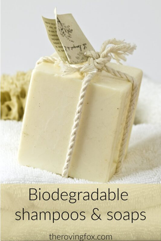 Biodegradable shampoo and biodegradable soap for eco-friendly travel