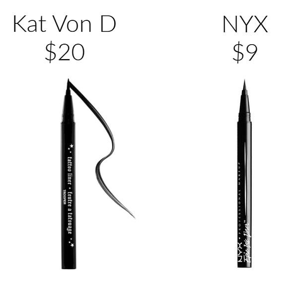 Drugstore Makeup Dupes eyeliner NYX EPIC INK LINER KAT VON D Tattoo Liner