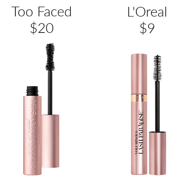Drugstore Makeup Dupes mascara Too Faced Better Than Sex Mascara L'Oreal Voluminous Lash Paradise Mascara