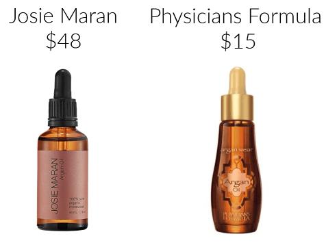 Josie Maran Physicians Formula argan oil drugstore makeup dupes